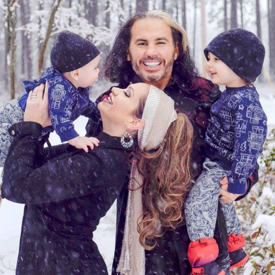 WWE Superstar Matt Hardy playing the snow with his wife ...
