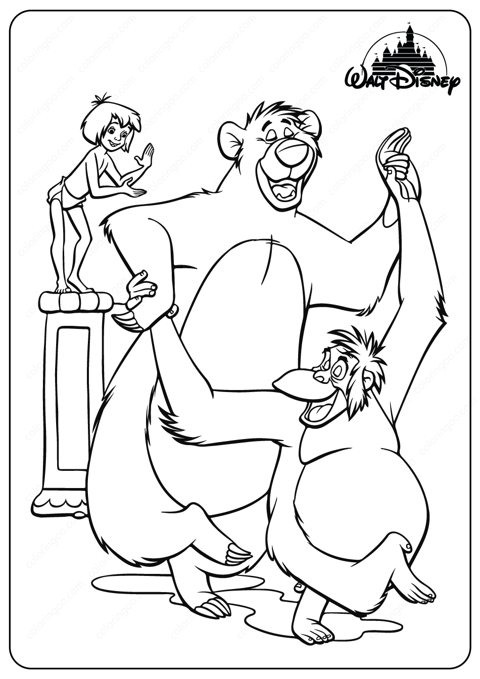 Printable Disney Jungle Book Baloo Coloring Pages in 2020