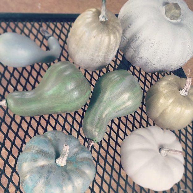 ready for fall!  diy fall decor: painted dollar tree pumpkins  #diy #fall #pumpkin #painted #chalkpaint #farmhouse #homedecor #crafty #neutral #dollartree #instagood #instahome #instadecor #diydecor #falldecor #paintedpumpkins