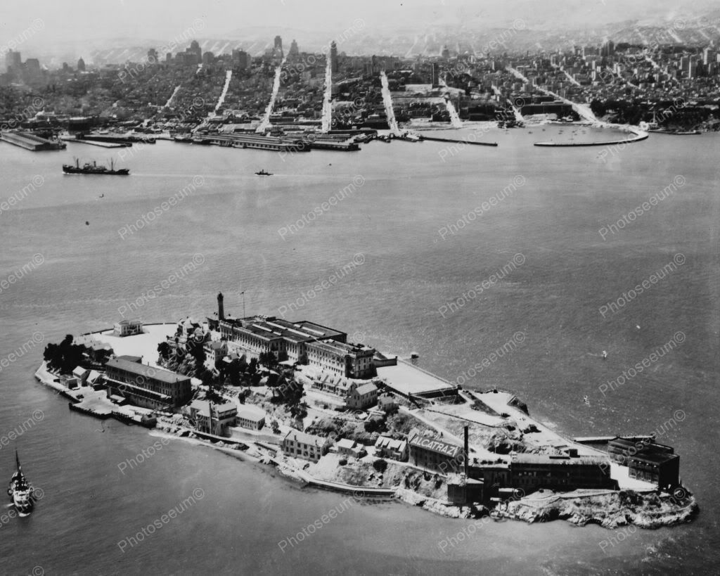 Alcatraz Island Aerial View 1930s 8x10 Reprint Of Old Photo 2 In