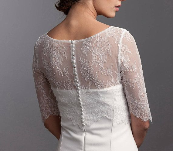04b616f1d7c480 Simple bridal lace topper, Bridal lace bolero, 3/4 sleeve wedding ...