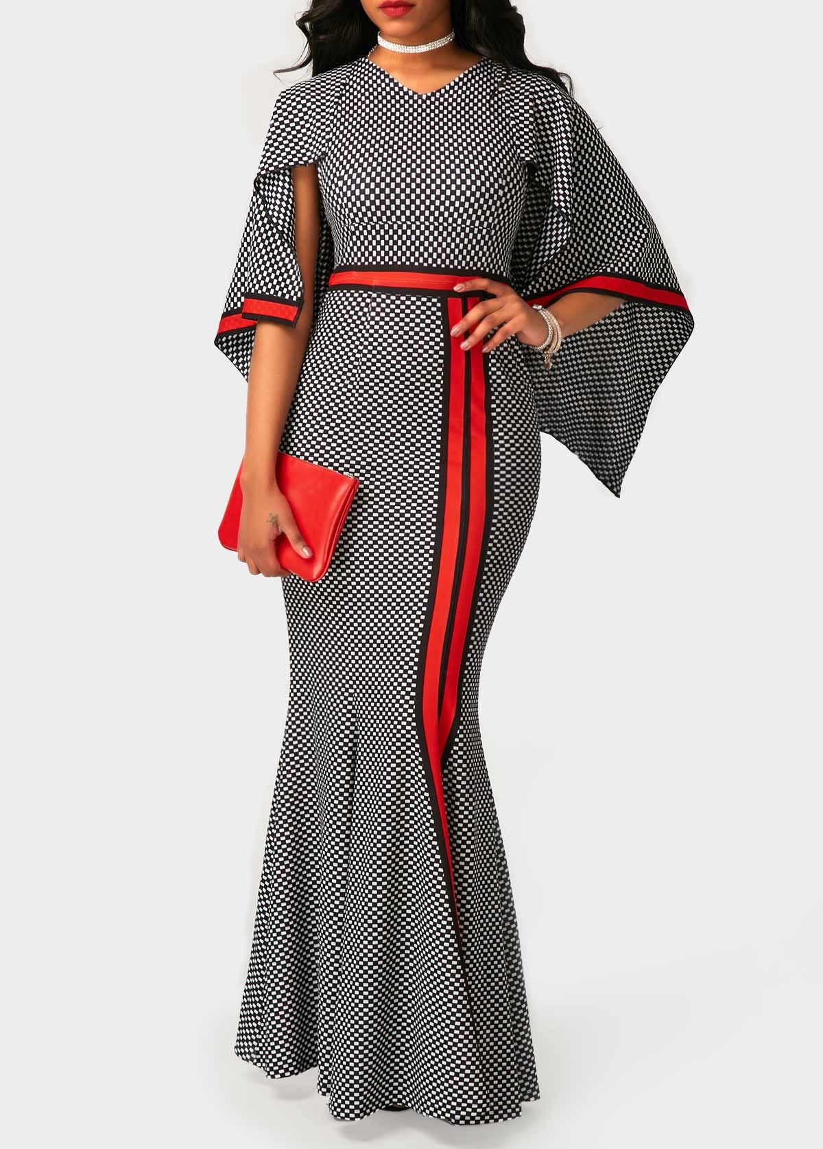 9710279c6fa V Neck High Waist Printed Maxi Dress on sale only US 34.90 now