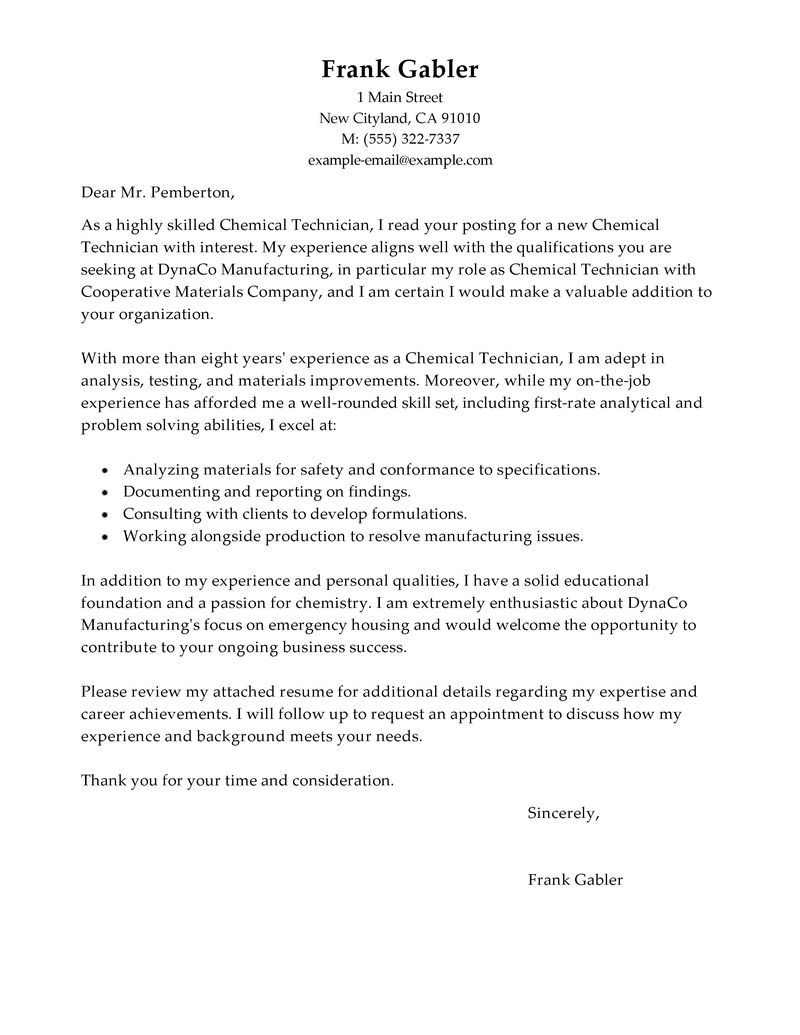 chemical technicians cover letter examples