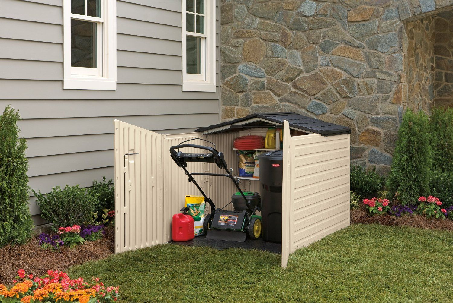 Rubbermaid Slide Lid Plastic Storage Shed 96 Cubic Foot Is Short Enough