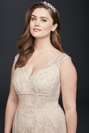 8788abc76e3 Beaded Cap Sleeve Lace Plus Size Wedding Dress Style 9T9612