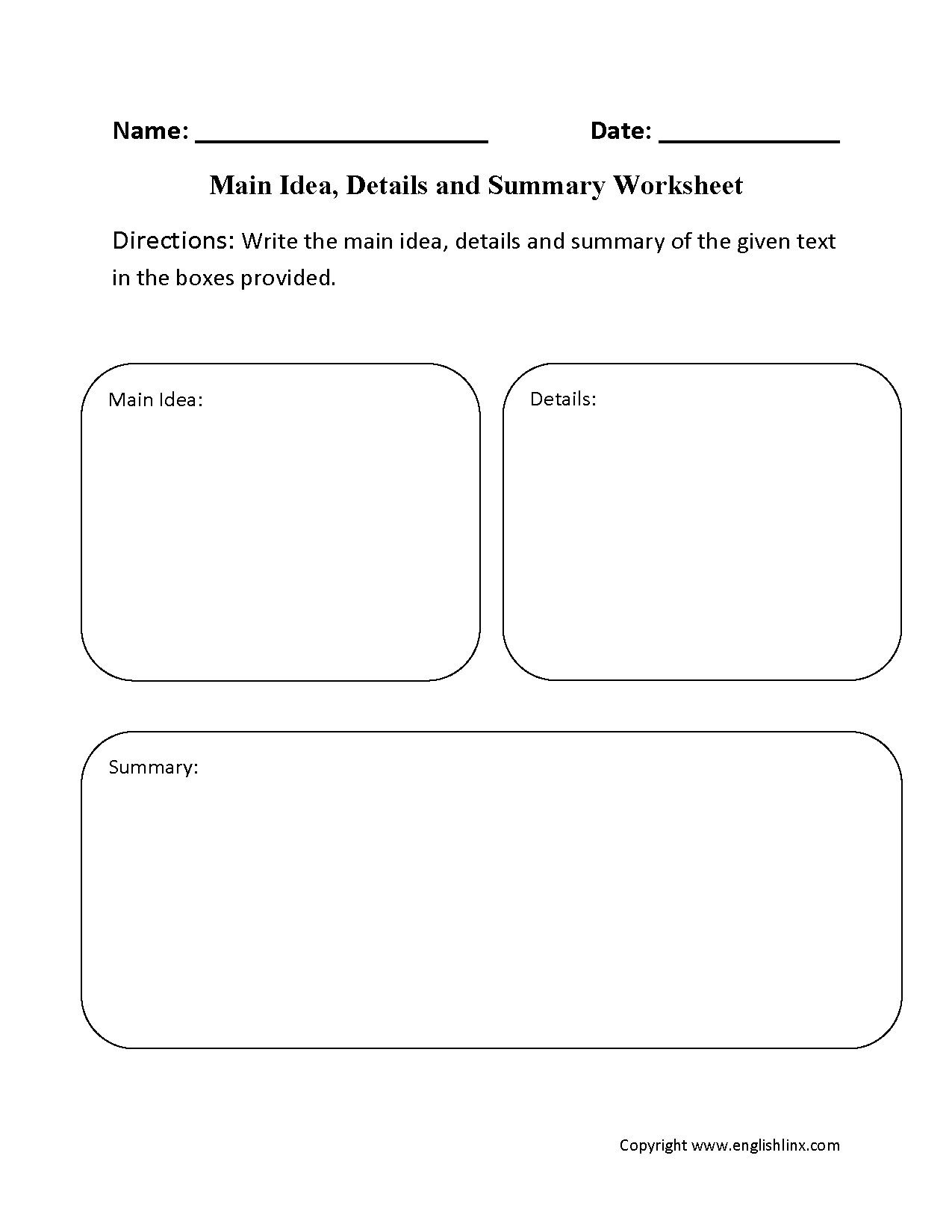 7 Academic Main Idea And Supporting Details Worksheets 4th