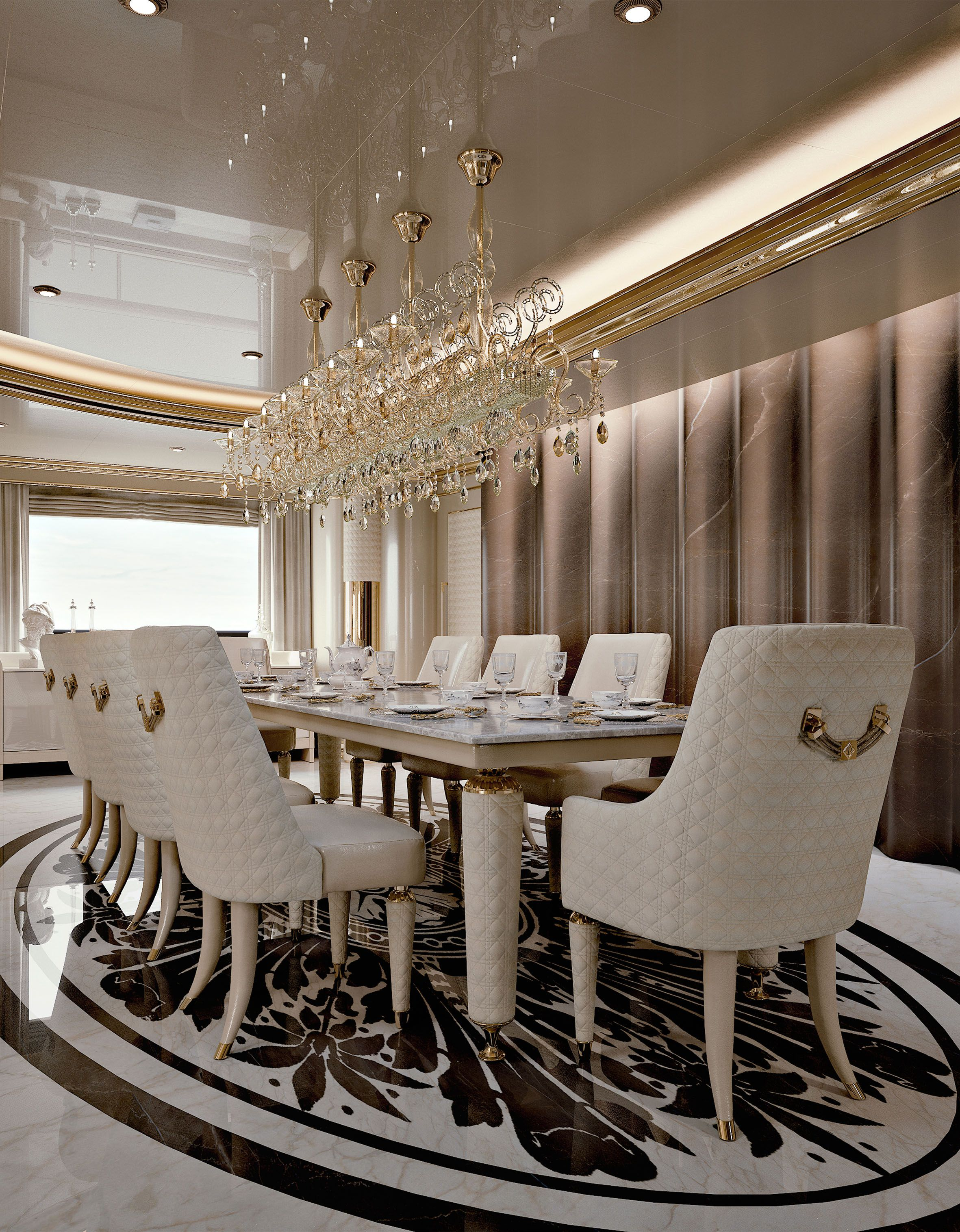 Numero Tre Collection http://www.turri.it Luxury yacht dining room ...