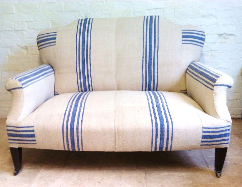 Edwardian Sofa Covered In Antique French Linen Grain Sacks