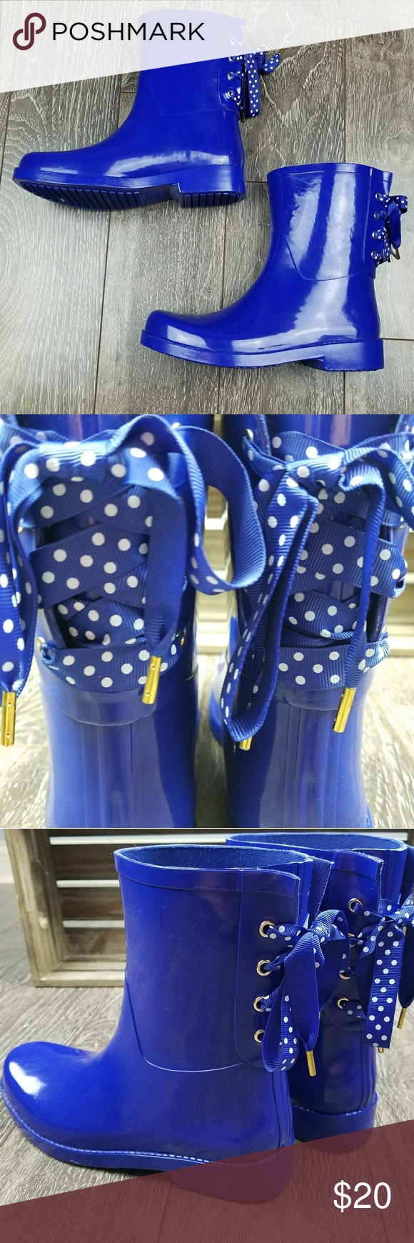c32973b0bff0 Crown and ivy polka dot lace up rain boots wellies ⛈made of rubber ...