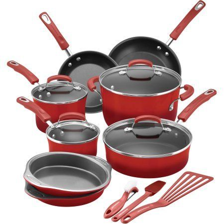 Rachael Ray 15-Piece Hard Enamel Nonstick Cookware Set (Red) * Click image to review more details.