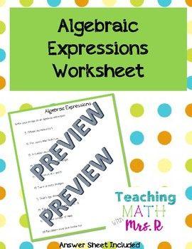 Algebraic Expressions Worksheet | Teaching Math with Mrs. R @ TpT ...