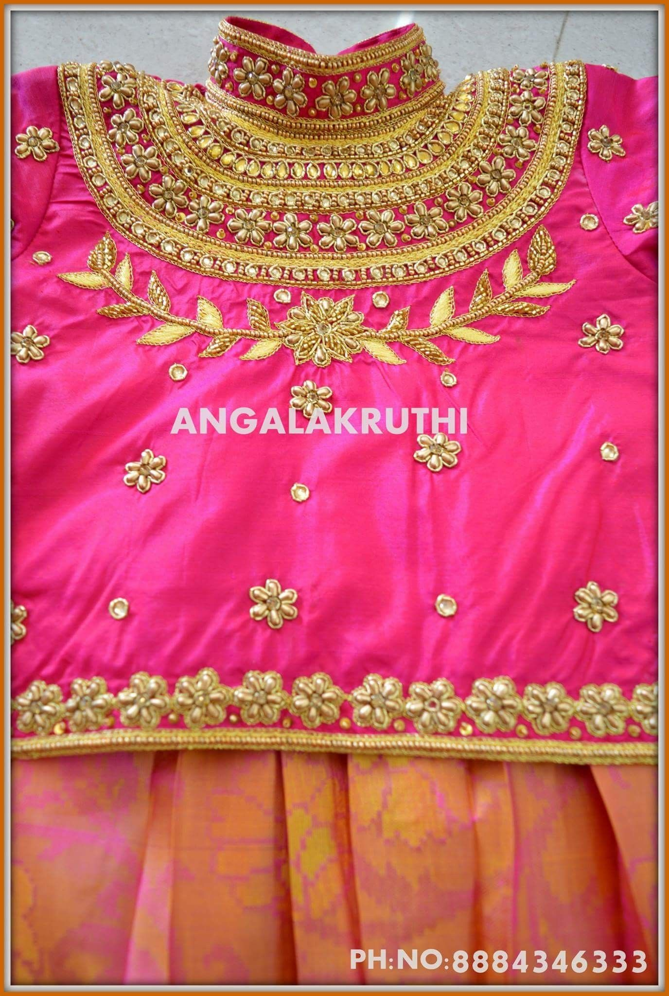 2e811dfc0d69d Hand Embroidery designs on kids lehenga Maggam work Blouse designs for kids