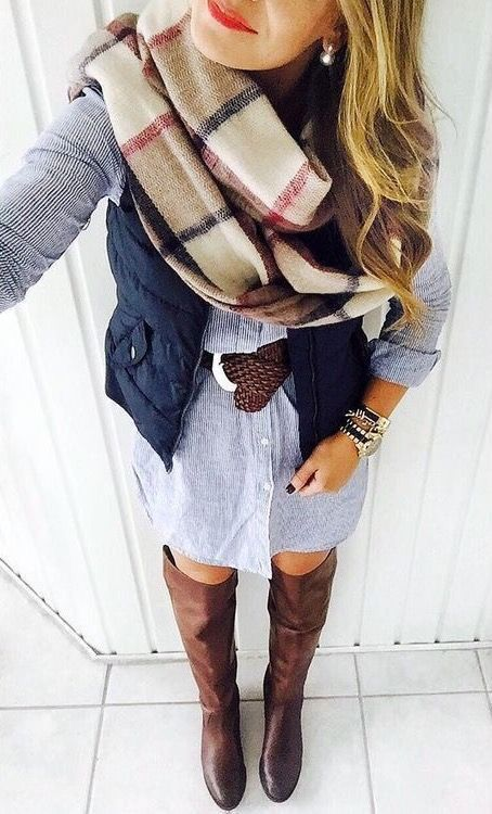 Denim/chambray button up dress, brown riding boots, navy vest, brown belt,  and blanket scarf. Another great fall outfit.