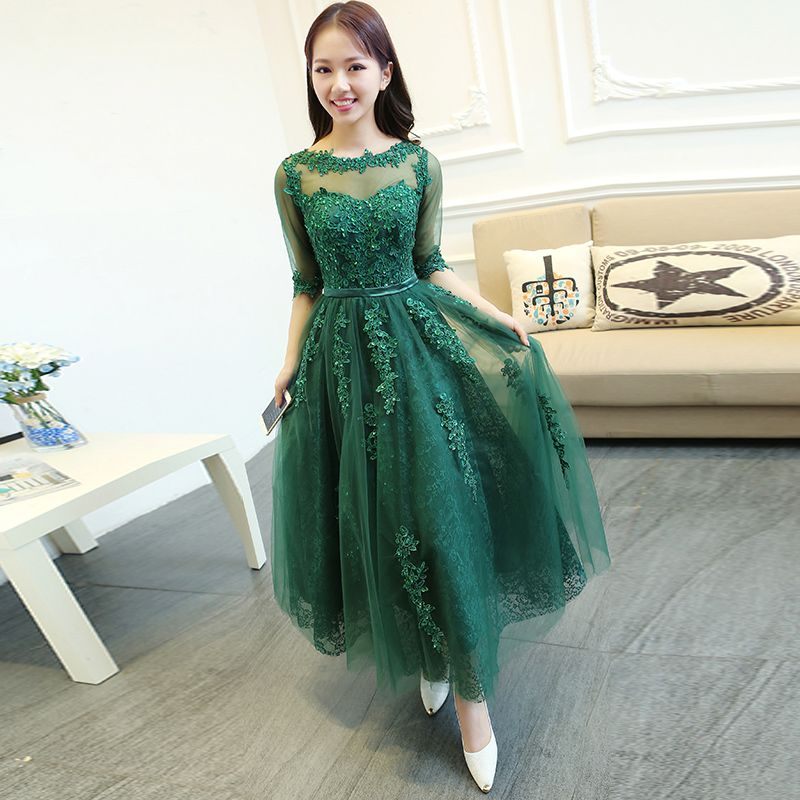 670acc66323 PotN Patio Luxury Appliques Medium Long Lace Emerald Green Evening Dresses  With Sleeves 2017 Plus Size Fast Shipping