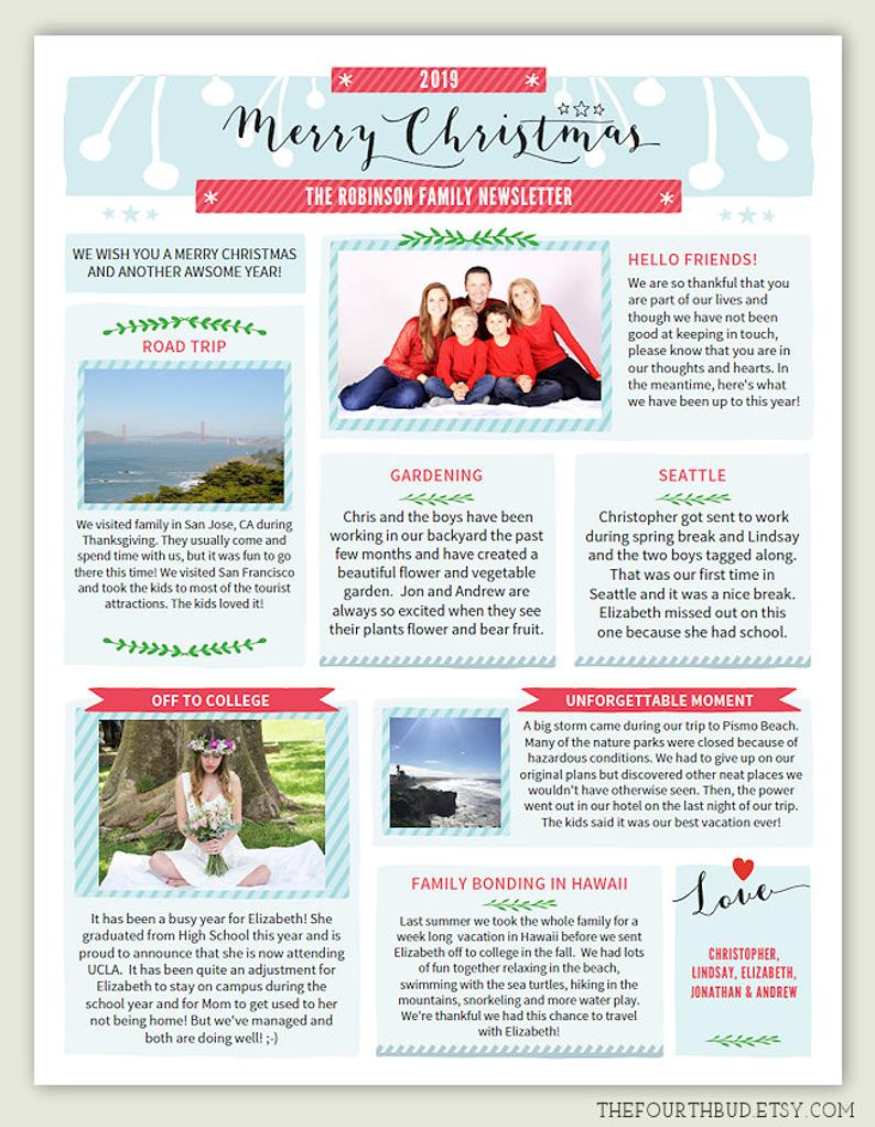 Year In Review Christmas Letter Template in PDF For Print