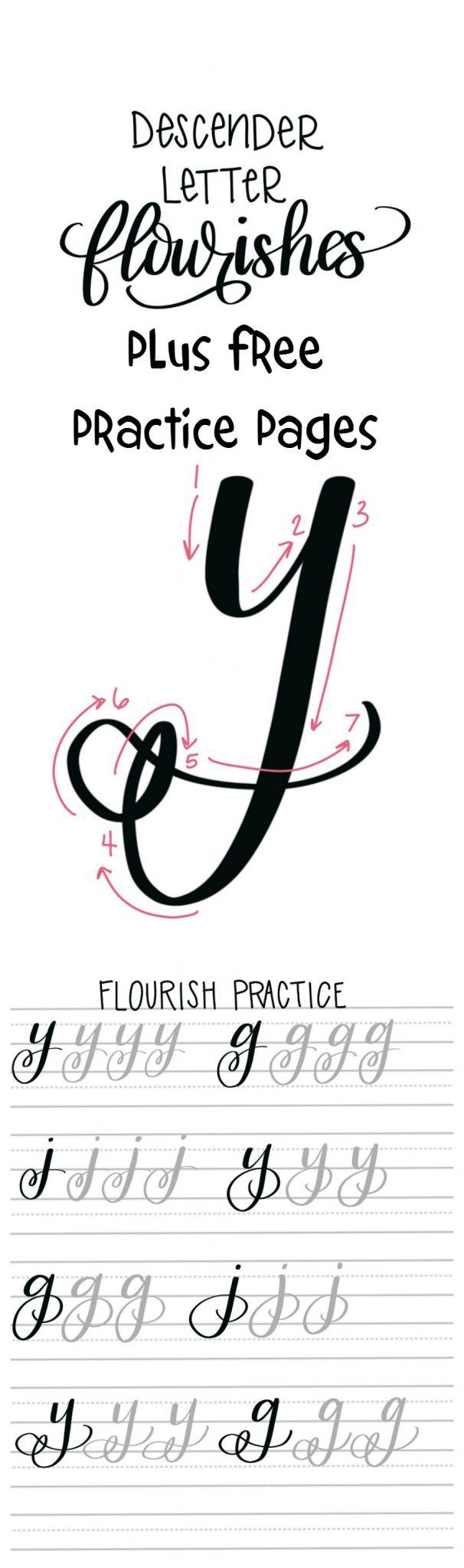 Hand Lettering Descender Letter Flourishes Free Practice Sheets Amy Latta Creations Lettering Lettering Tutorial Hand Lettering [ 2048 x 606 Pixel ]