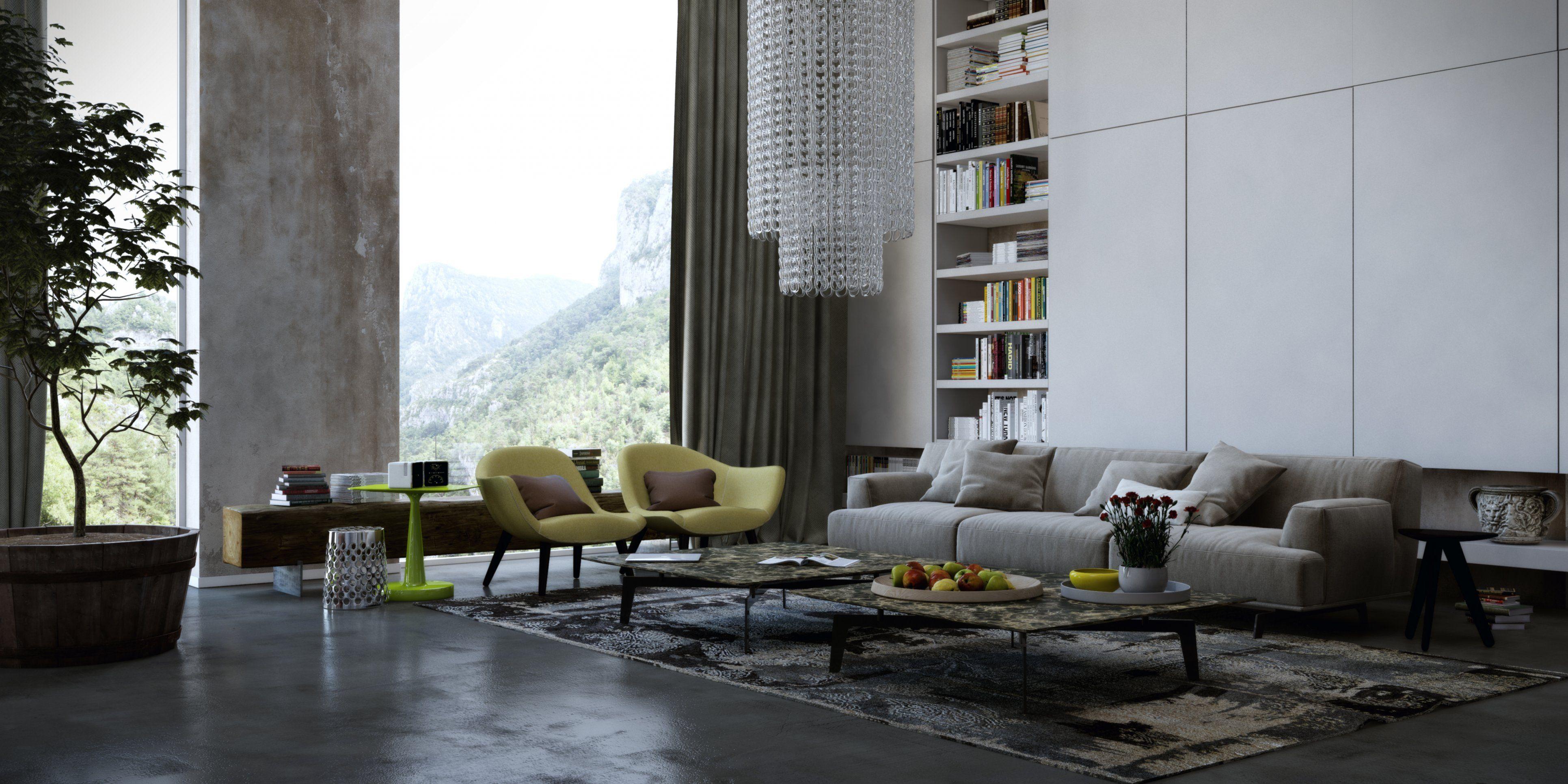Sal n moderno miriam high ceiling living room living for Decoracion interiores salones