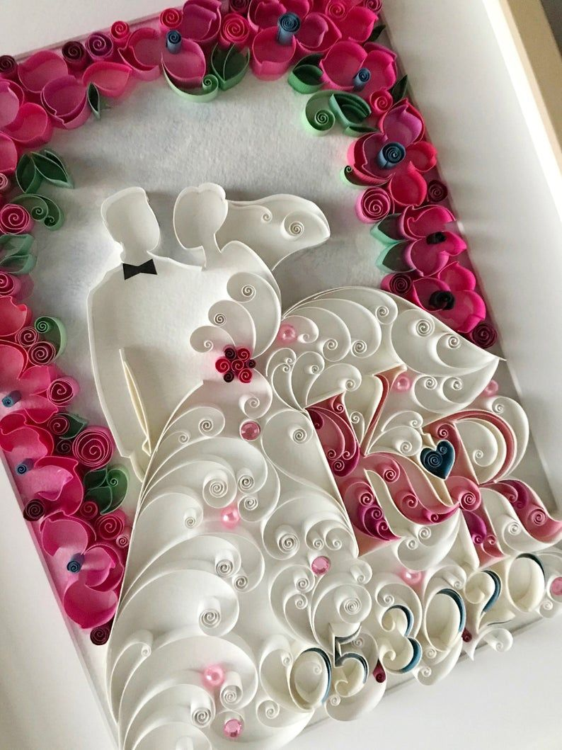 one year anniversary quilling first anniversary paper gift