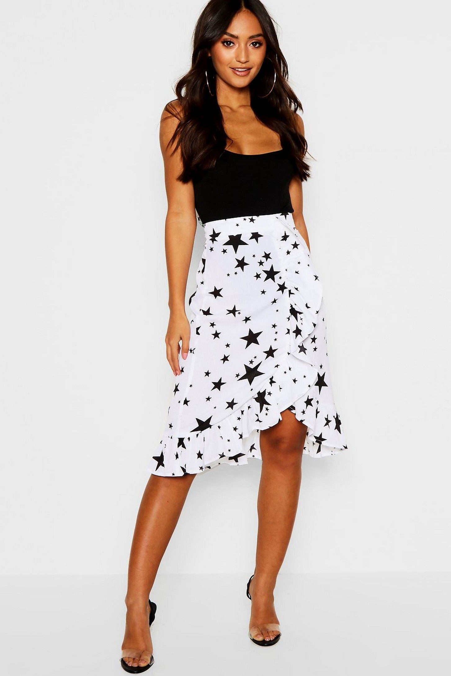 52936b615856 Petite Star Print Ruffle Midi Skirt in 2019 | Fashion | Skirts ...