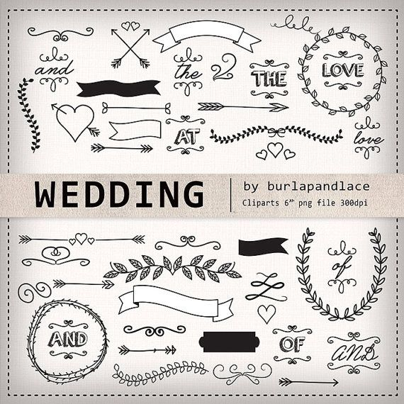 Photo of Significant items like hand drawn clipart laurels, arrows, banners, wreath wedding clipart, bridal clipart, arrows clipart, laurel clipart, linen digital pattern on Etsy