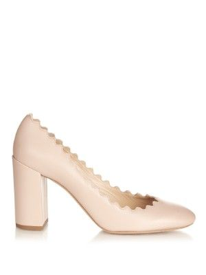 abe93e54484 Lauren scalloped-edge block-heel leather pumps