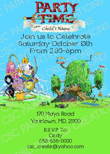 Adventure Time Invitation Adventure time parties and Birthdays