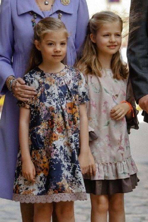 (R-L) Spanish Princess Leonor and Princess Sofia, arrivals to the eastern mass at Palma de Mallorca Cathedral in Mallorca, Spain, 20.04.14