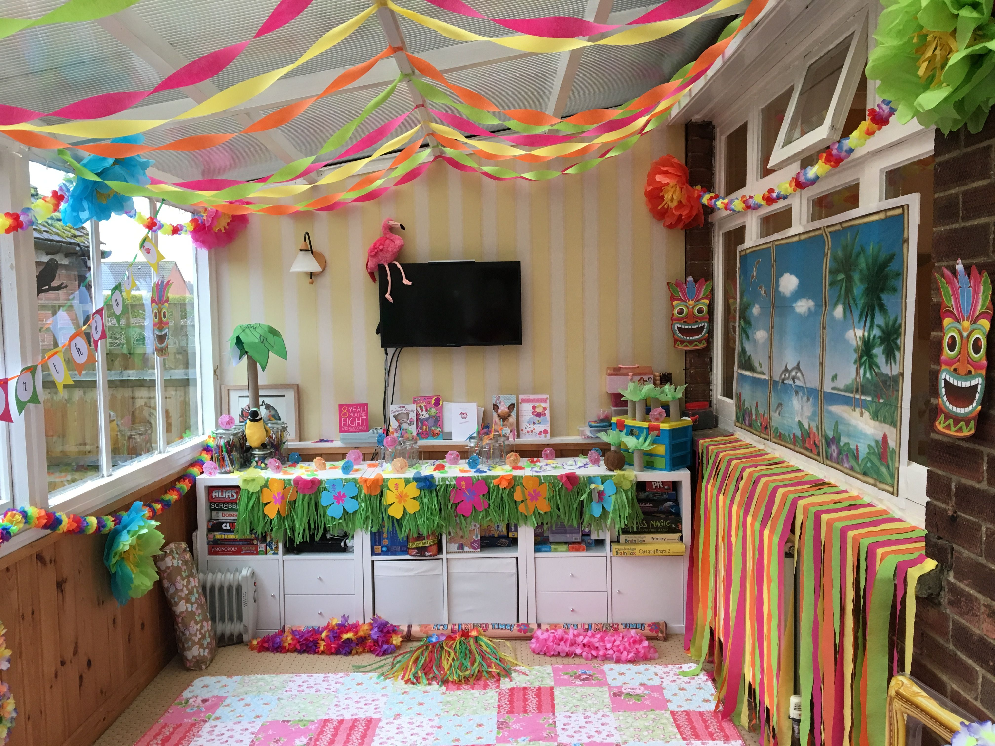 Our Old Conservatory Turned Into Hawaiian Party Room