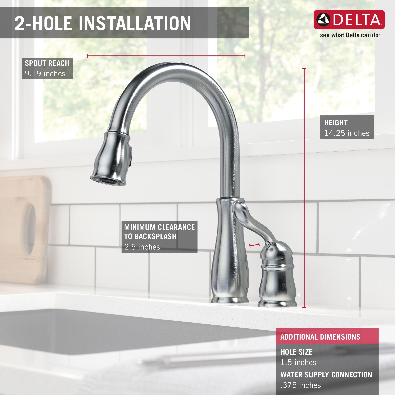 Delta Leland Single Handle Pull Down Standard Kitchen Faucet Amp