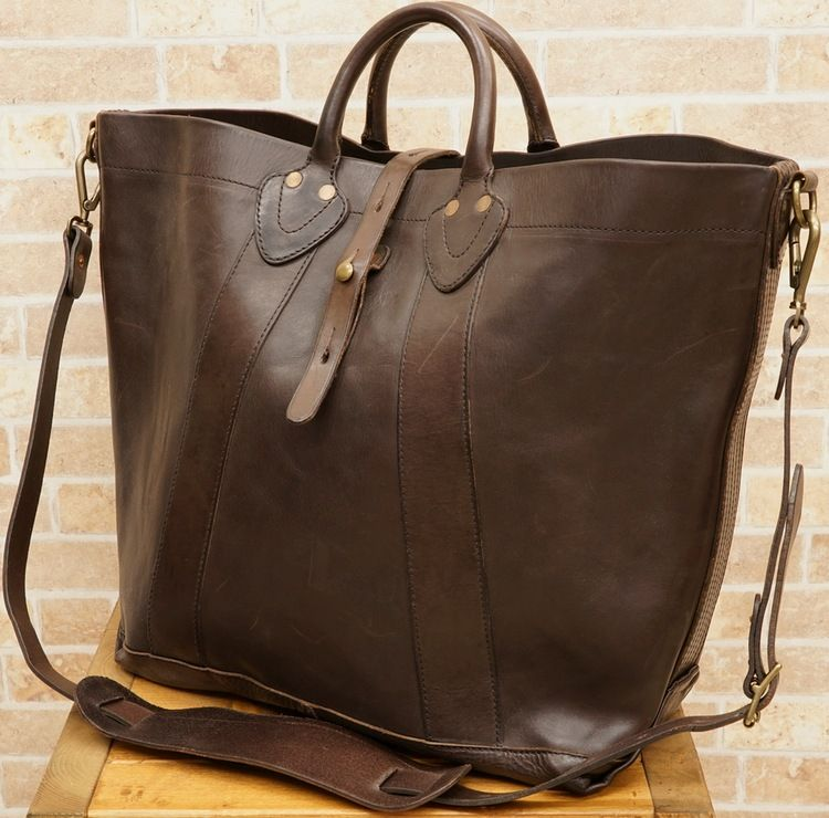 RRL   double are L vintage Italian leather tote bag dark brown ... d9974afb7086b