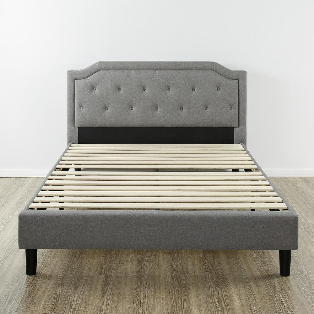 Zinus Kellen Upholstered Scalloped Platform Bed Frame King Hd Fsup K Upholstered Platform Bed Grey Bed Frame Bed Frame