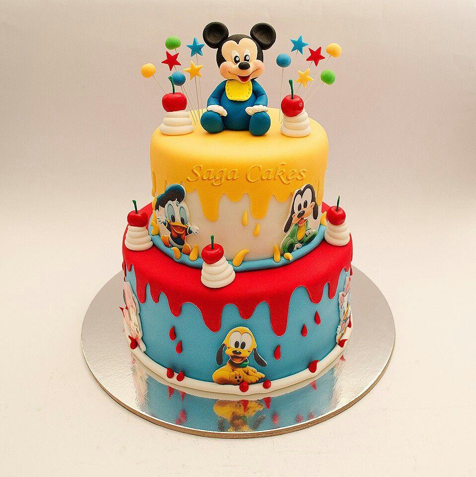 Incredible Mickey Mouse Cake Baby Birthday Cakes Mickey Mouse Birthday Personalised Birthday Cards Sponlily Jamesorg