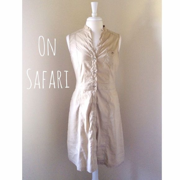 """Safari Style Khaki Dress Never worn but it has been laundered.  It has side POCKETS! Size S but runs big!  I normally wear a S and this is too big for me to model.  39.5"""" from shoulder to hem and approximately 18"""" bust measurement.  Starting midway the buttons are interior.  Selling for a family member. All proceeds from this purchase will be donated to our local animal shelter..                                                  ▪️55% Linen 42% Viscose 3% Spandex.            ▪️Machine wash…"""