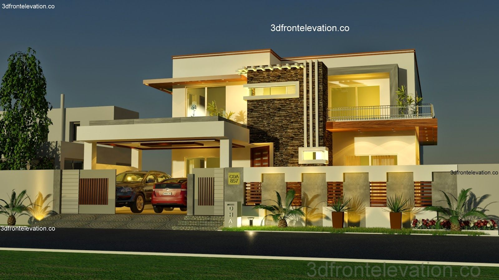 Modern house front elevation designs buscar con google for Contemporary building elevation