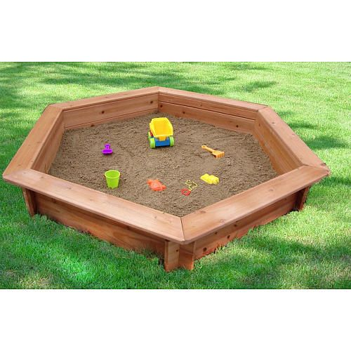 5 foot x 4 foot hexagonal sandbox with rain cover creative cedar designs toys
