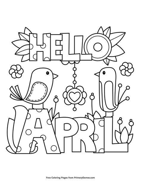 Hello April Coloring Page • FREE Printable eBook
