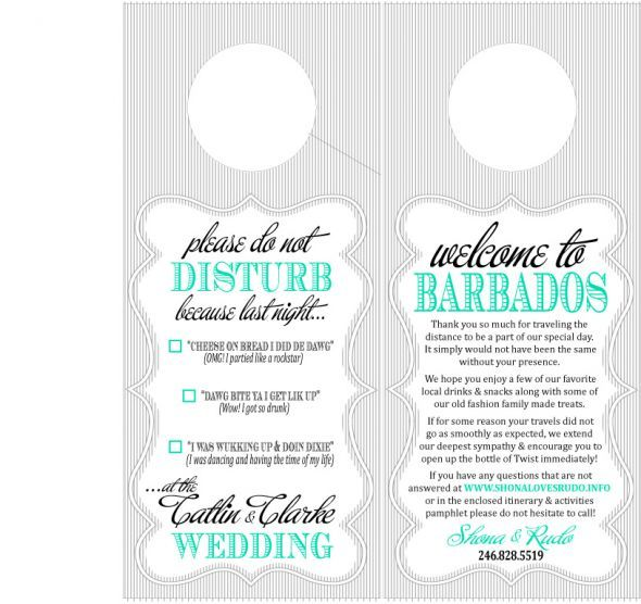 destination wedding oot bag door hanger  wedding barbados burlap - door hanger template