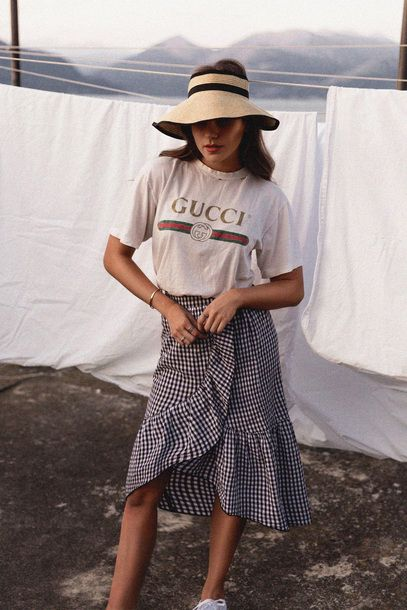 22ed1f6682fff7 Skirt: tumblr, hat, gucci, gucci t-shirt, logo tee, t-shirt, midi skirt,  gingham, ruffle, spring outfits - Wheretoget