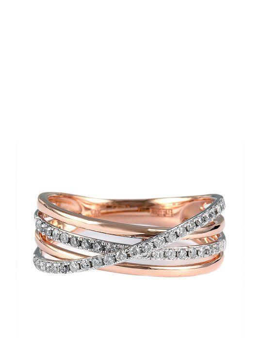 Pave Rose 14 Kt Rose Gold Layered Diamond Band