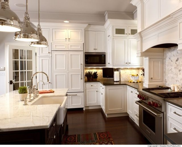 White Kitchen Cabinets With Different Color Island in 2020 ...