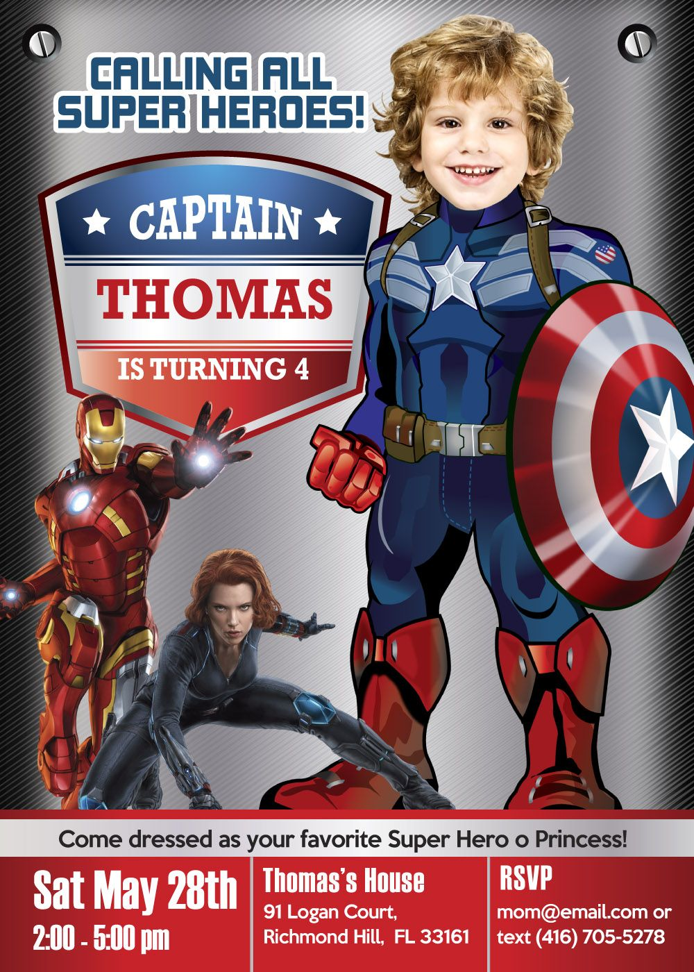 Turn Your Boy Into His Favorite Super Hero Captain America Captain America Invitation Captain Captain America Party Captain America Birthday America Birthday