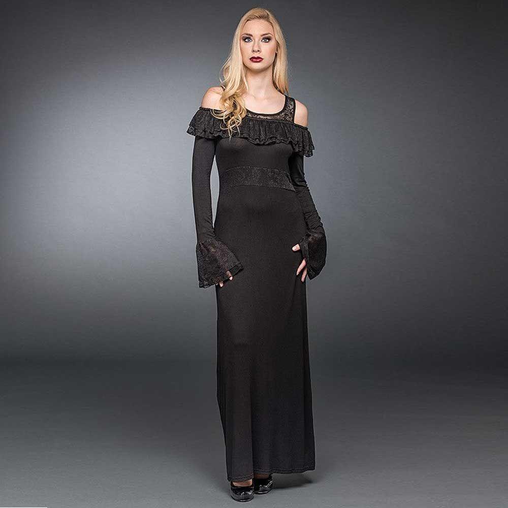 Queen of Darkness Lange jurk met geplooide off shoulder halslijn en ka