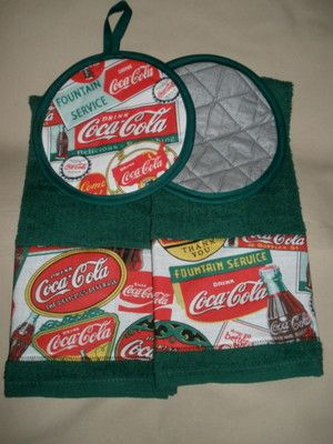 Great Coca Cola Pop Coke Soda Kitchen Towels Potholders | EBay