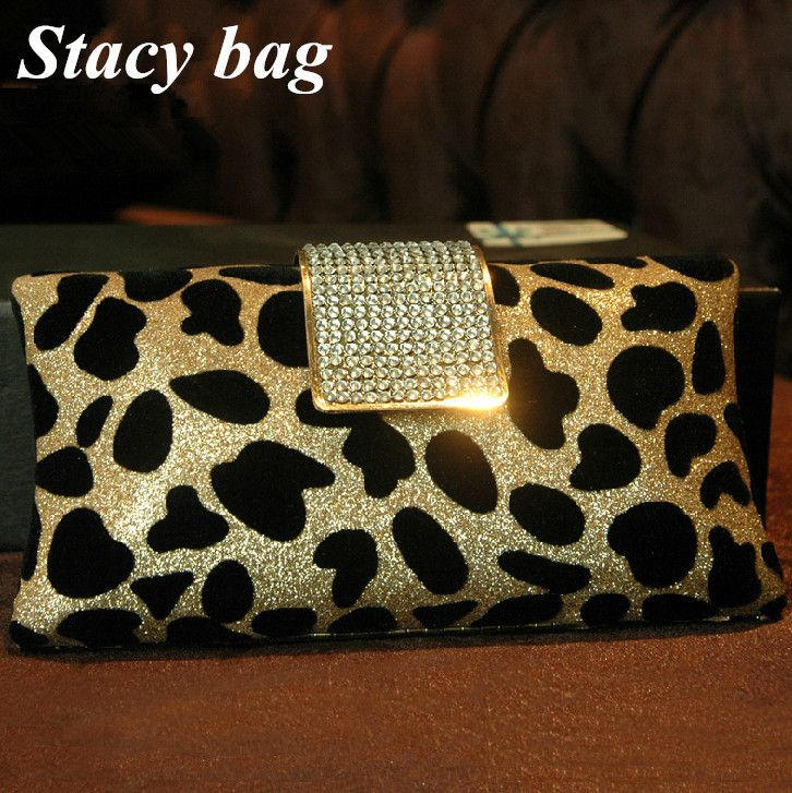 stacy bag hot sale brand high quality women leopard print rhinestone fashion elegant evening bag chain small day clutch hand bag $22.00