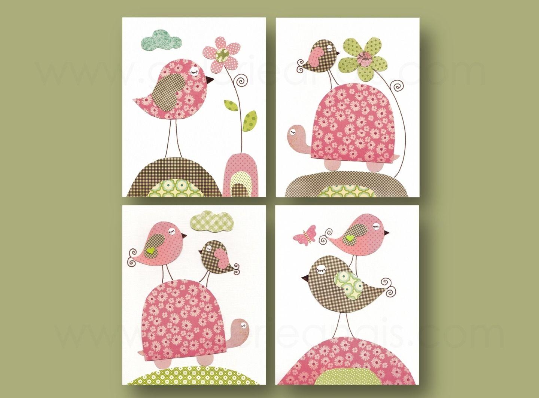 Lot de 4 illustrations pour chambre d\'enfant et bebe, rose, vert ...