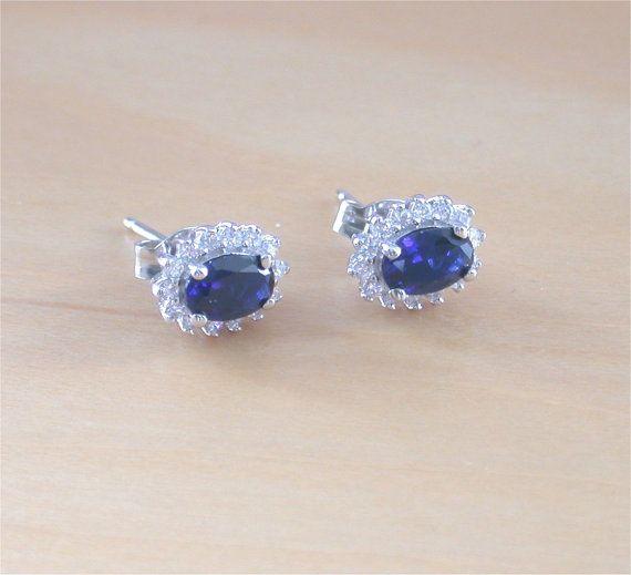 925 Sapphire Lab CreatedEarrings/Sapphire Jewelry/Silver