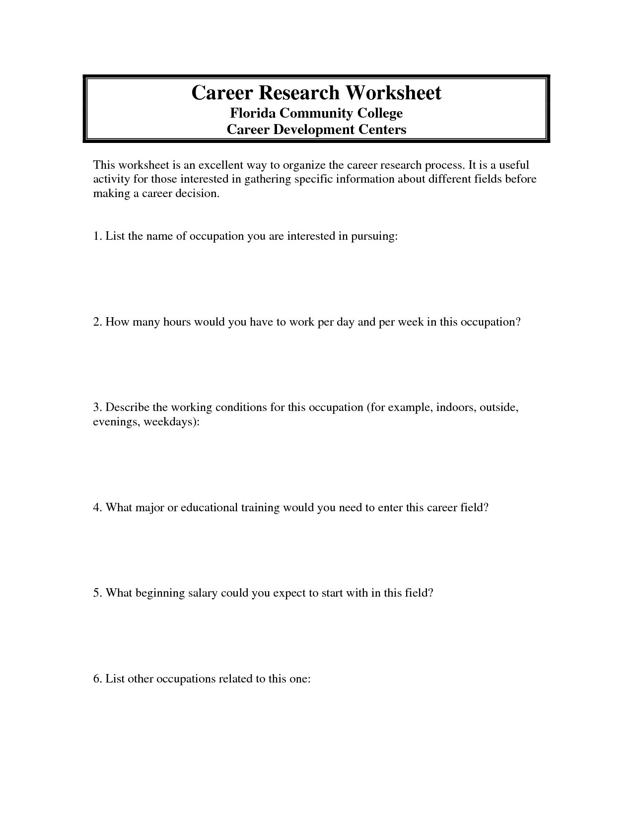 Career Plan Worksheet Career Research Worksheet Career Research