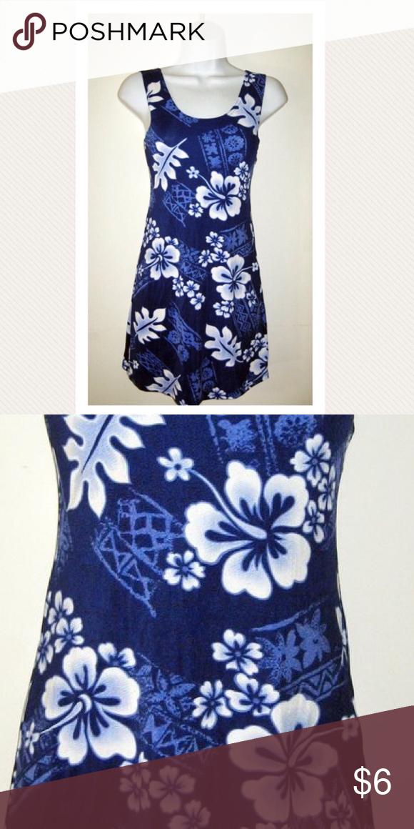 Hawaiian Print Stretch Tank Mini Dress S Beach Mini Tank Dress Dresses Clothes Design
