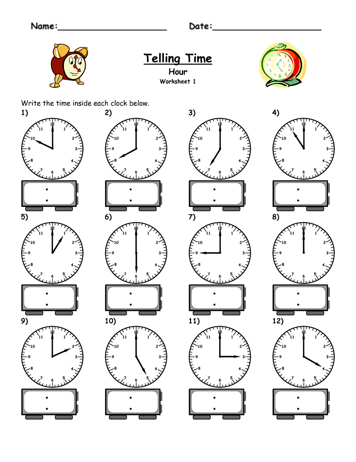 Time Elapsed Worksheets