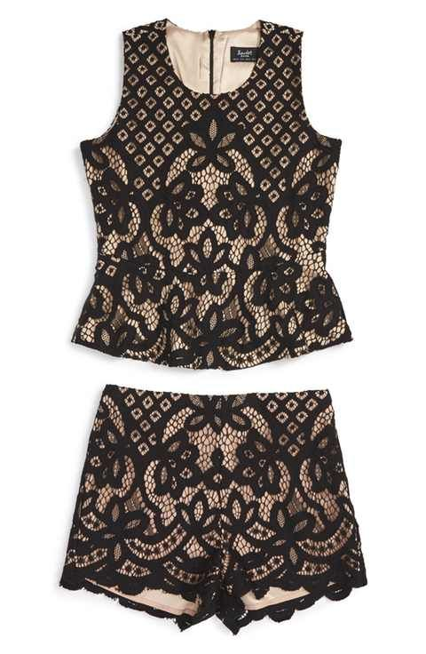 Bardot Junior 'Jessie' Lace Tank & Shorts Set (Big Girls)